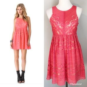 Free People Rocco Pink Lace Overlay Dress, Size 4